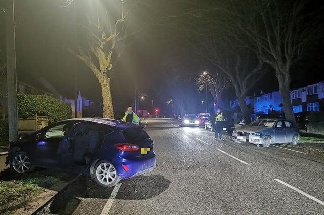 The scene of the crash in Walton Road, Chesterfield.