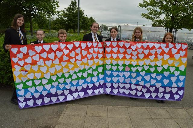 Students at Heritage High School, in Clowne, celebrating School Diversity Week 2021