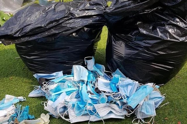 Chesterfield Litter Picking Group collected 74 dumped face masks in a small area near Parkside Community School, Chesterfield.