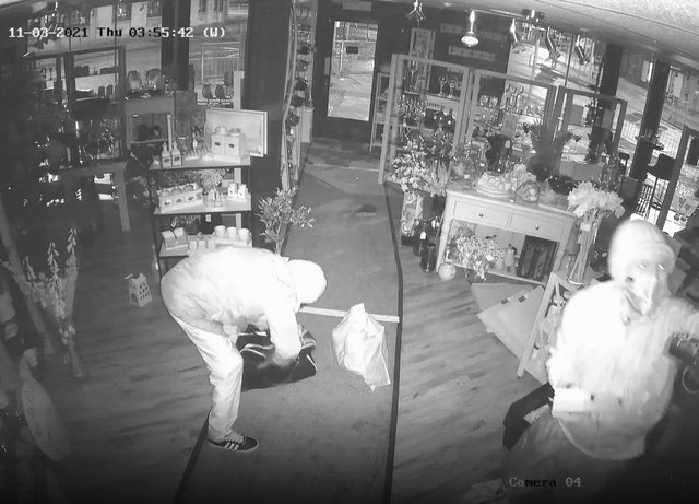 After ransacking the shop wearing hoods, masks and gloves the burglars made off with stainless steel coffee pots, expensive tweed and leather cushions and silverware
