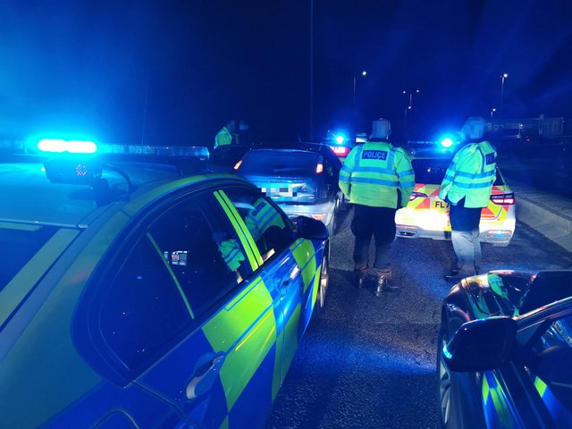 Derbyshire Roads Policing Unit fined four Leeds residents who travelled to the county while doing a 'tour' of motorway services.