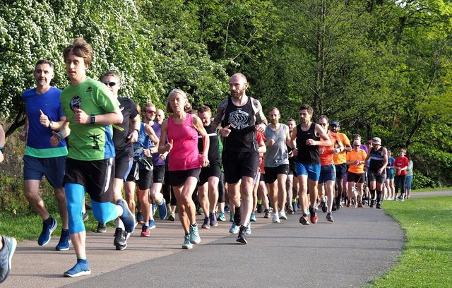 Runners at Millhouses Park. Picture: David Bocking.