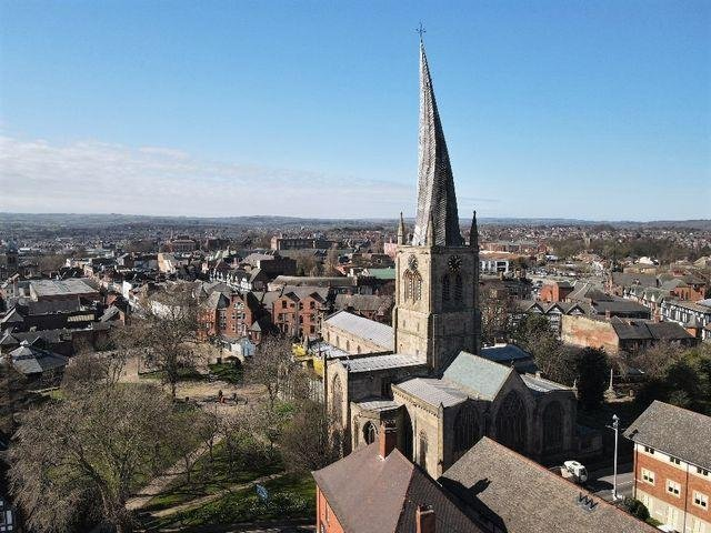 Chesterfield's iconic Crooked Spire has been captured in a birds-eye view