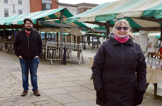Chesterfield market traders Luke Povey and Steph Mannion. Pictures by Brian Eyre.