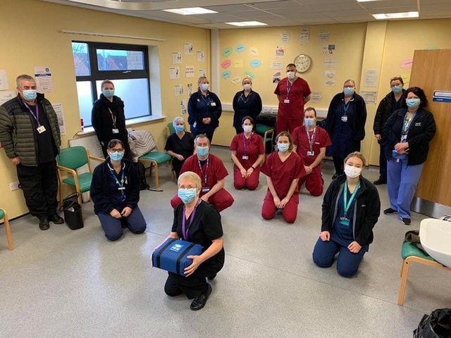 Janet Dove (pictured centre) with nursing teams from Dronfield Primary Care Network