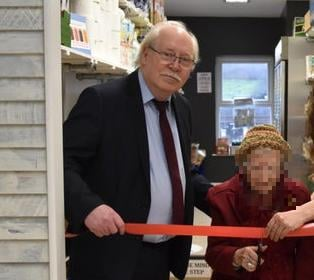 Councillor Steve Fritchley, Bolsover District Council leader, at the official opening of the new community shop in Shirebrook.