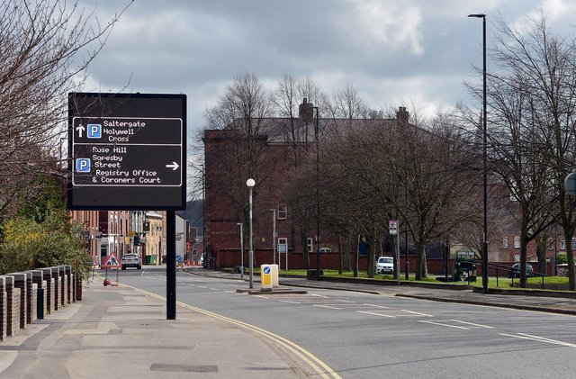 The digital road sign on Saltergate. Pictures by Brian Eyre.