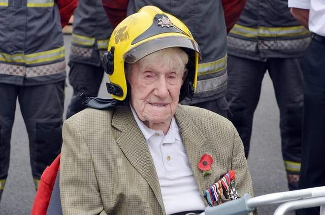 Donald Rose, who is 106-years-old, was taken to Derbyshire joint training centre for a ride in a fire engine.