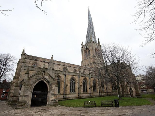 """Chesterfield's Crooked Spire """"welcomes home comers and visitors as we approach the town from any direction."""""""
