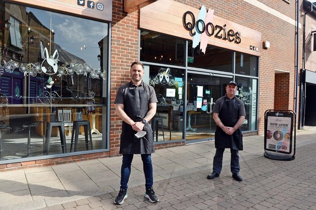 Manager Mario Lanza and Claudio Tofu from healthy cafe Qoozies in Chesterfield town centre.