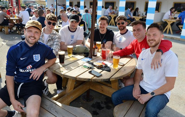 Fans in Chesterfield watch the England v Germany game at the Spotted Frog.