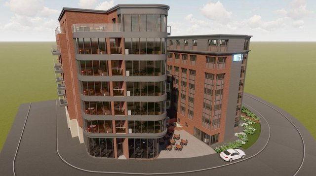 A computer image of the proposed seven-storey apartment block and seven-storey hotel at Basil Close.
