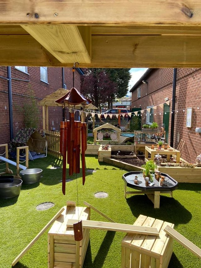The new outdoor garden oasis and forest school area which have opened at Kids Planet Sheepbridge