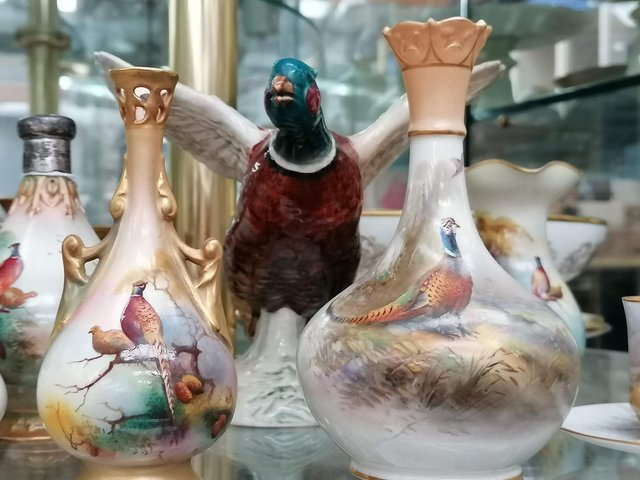 Items from the Royal Worcester pheasant themed collection which will be auctioned.