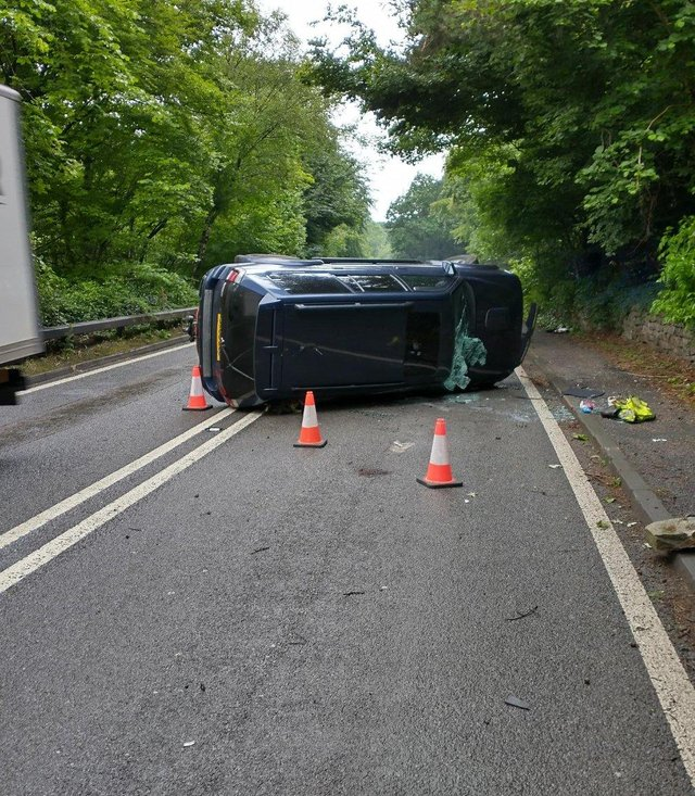 A car was left overturned following a collision on A619 in Baslow yesterday (Monday, July 12).