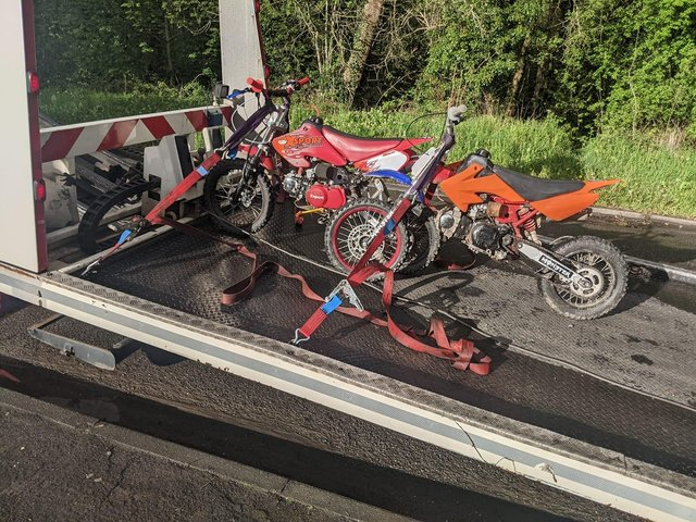Derbyshire police seized the two bikes in Hollingwood on Monday