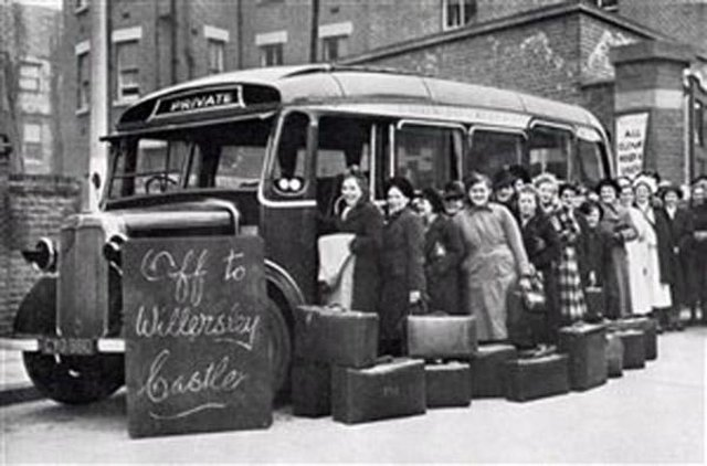 Mums-to-be from Clapton, London, board the coach to Willersley Castle.