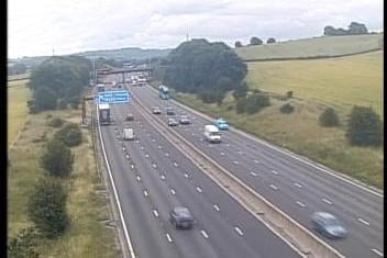 A lorry broke down on the M1 northbound between Junction 29 and 29A earlier this morning. Credit: Highways England.