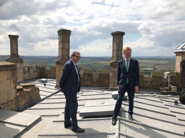 Tourism minister Oliver Dowden was invited by MP Mark Fisher to Bolsover Castle to check out the tourism potential in Mr Fisher's constituency.