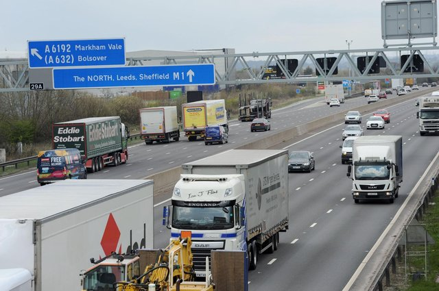 A vehicle has broken down on the M1 causing a lane to be closed near to Chesterfield.
