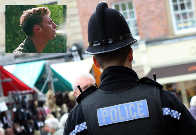 Two officers were exposed to the risk of being infected with Covid when Luke Hatcher's blood-mixed saliva landed on them