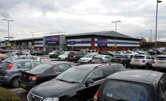 Cars parked at Ravenside Retail Park in Chesterfield.