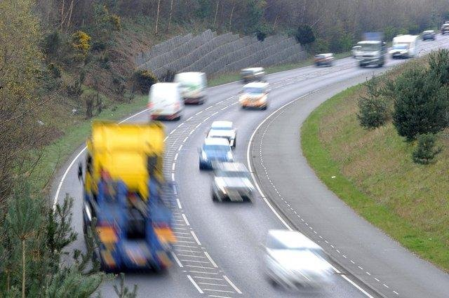One lane is closed on the A38 in Derbyshire due to a broken down vehicle