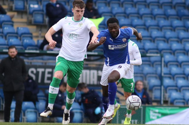 Chesterfield cut through Yeovil Town in the second-half on Saturday. Pictured: Akwasi Asante.