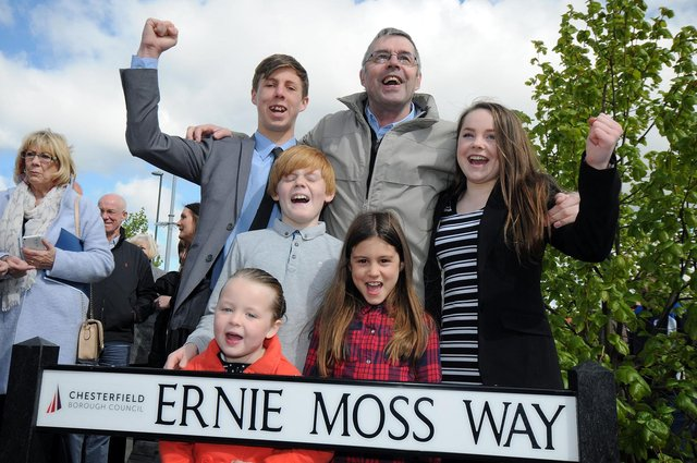 Ernie Moss and his grandchildren gave a cheer after a street was named in his honour adjacent to the then Proact Stadium.