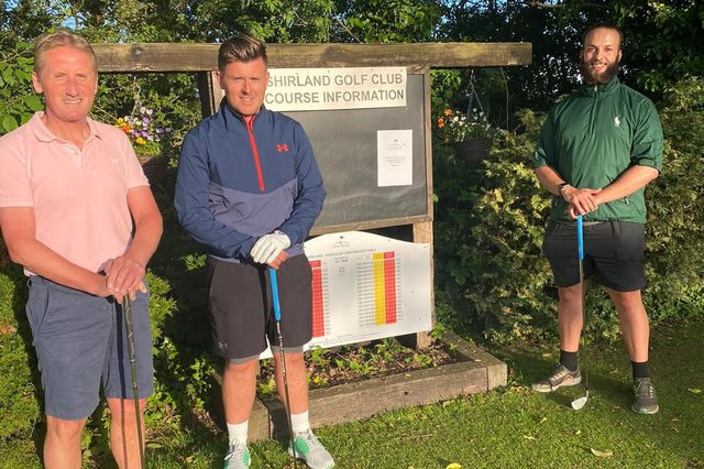 All set for their golfing marathon at the Shirland club are (from left) Nigel Bailey, David Wigley and Elliot Teer.
