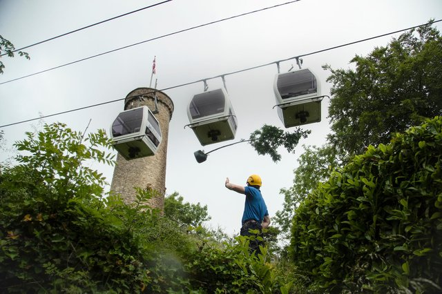 Hanging from beneath a cable car, a young oak tree is hauled up to The Heights of Abraham. Image: Rod Kirkpatrick/F Stop Press.
