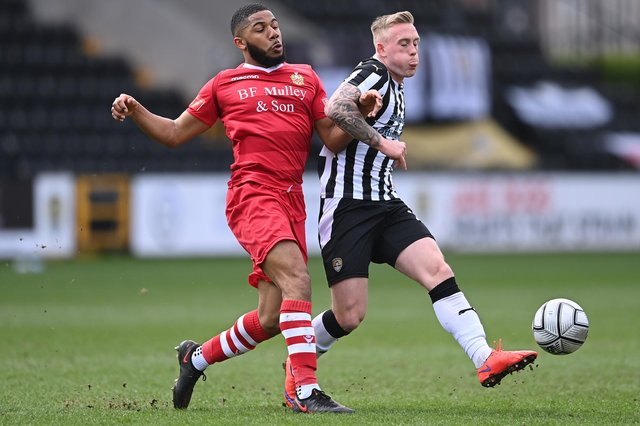 Calvin Miller, pictured playing for Notts County last season, has signed for Chesterfield.