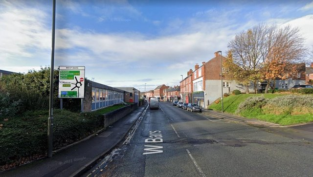 A homeless woman injured herself with smashed glass on West Bars in Chesterfield.