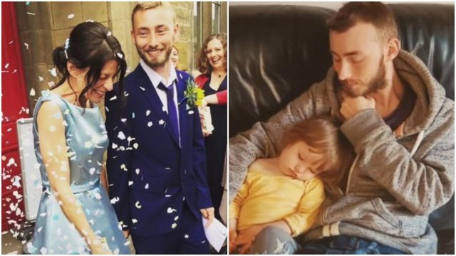 Josh is pictured with wife Talia on their wedding day and with son Luke, two.
