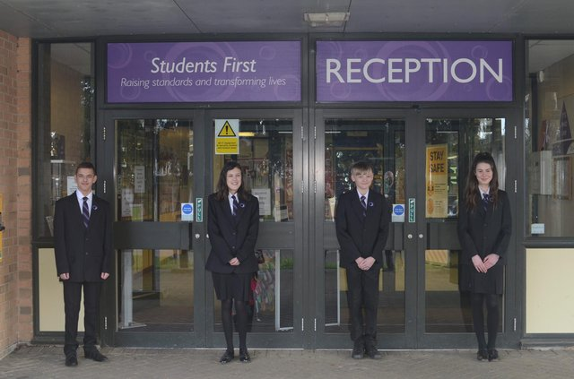 Students at Outwood Academy Hasland Hall, one of the schools where a uniform recycle bin is being installed to enable students and their families to donate items of school uniform that they no longer wear or need