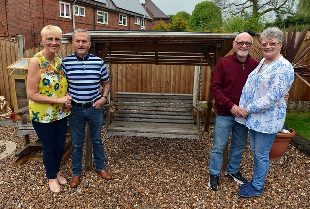 Sandra and Dave Oldfield, from left, and neighbours June and Trev Baston celebrate their golden wedding anniversaries on Saturday, May 15. 2021.