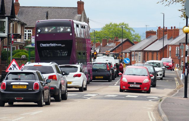 Pictured are the recent Hasland Road roadworks, during which resident Dave Whyld said the issue with speeding drivers got worse
