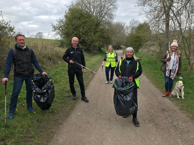 Litter pickers Steve Turner, Andrew McCloy, Claire Barlow, Sarah Wilks, Jen Lowthrop on the Monsal Trail.