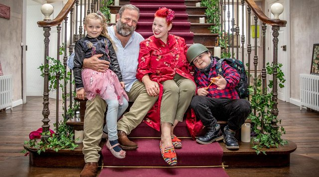 Dick and Angel Strawbridge, stars of Escape to the Chateau, and their children.