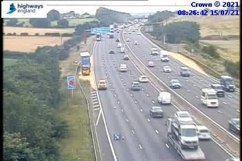 A lorry has broken down on the M1 close to Chesterfield. Credit: Highways England.