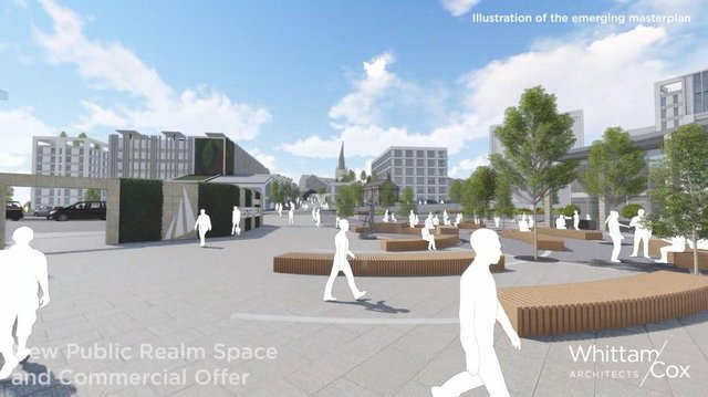 Chesterfield station masterplan view by Whittam Cox Architects.