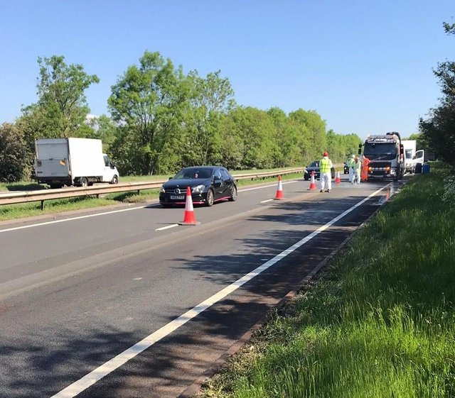 Highways England have closed the A38 Southbound from Hartshay to Coxbench after a collision between a car and a cow earlier this morning. Credit: Highways England.