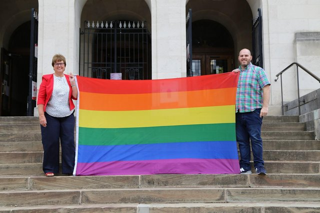 Councillor Tricia Gilby, leader of Chesterfield Borough Council, pictured with Dan Walker, Chesterfield Pride organiser at the Town Hall.