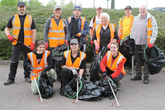 Some of the volunteer litter pickers before they set out on Saturday's event in Chesterfield.