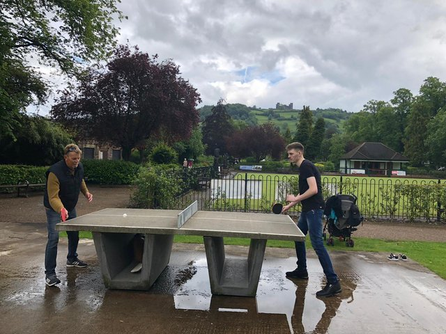 Tom (left) playing table tennis with his son Tom Junior at Matlock Park on Father's Day in 2019.