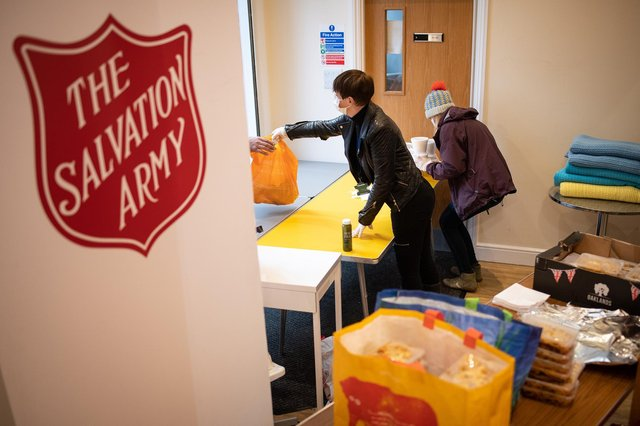 The Salvation Army needs food donations to make food parcels families affected by coronavirus. Photo: Leon Neal/Getty Images