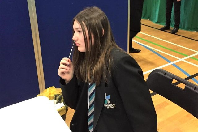 Shirebrook Academy student Alexia Cordon takes her Covid-19 test this week after the school welcomed back pupils – but they warned it will be many months before the school is back to normal.