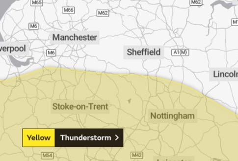 There's a yellow warning for thunder across much of the East Midlands.