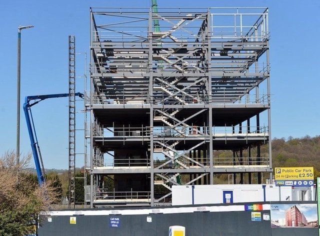 One Waterside Place, the seven-storey office block at Chesterfield Waterside, is expected to be complete by September.