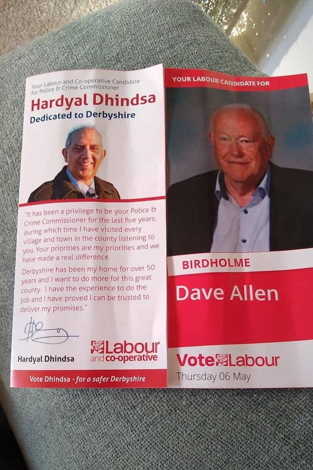 This was the leaflet posted through Chesterfield residents' doors.